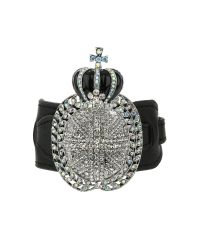 Mikey - Black Crown Leather Bracelet - Lyst