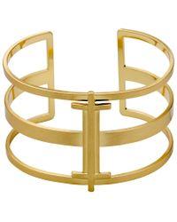 Pilgrim | Metallic Gold Colour Cuff Bracelet | Lyst