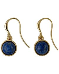 Pilgrim - Metallic Gold Plated Blue Dangle Earrings - Lyst
