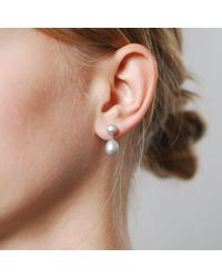 Dower & Hall - Multicolor Silver Dove Grey Double Pearl Drops - Lyst