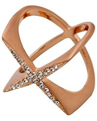 Pilgrim Metallic Rose Gold Crystal Cris-crossing Ring