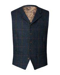Gibson Blue Men's Navy Tweed Waistcoat for men