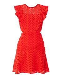 Bardot Red Shift Dress With Cut Out Sides