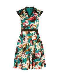 Karen Millen Multicolor Floral Cotton Skater Dress - Multicolour