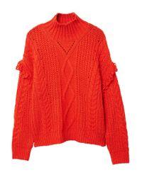 Mango | Orange Fringes Cable-knit Sweater | Lyst