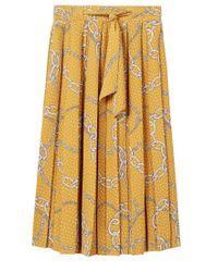 Mango Yellow Chain Print Midi Skirt