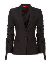 HUGO - Black Amilli Blazer With Ruched Sleeves - Lyst