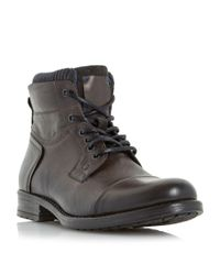 Dune | Gray Calabash Padded Cuff Leather Lace Boots for Men | Lyst