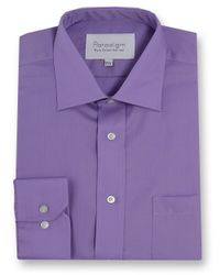 Double Two Purple Paradigm King Size Single Cuff Pure Cotton Shirt for men