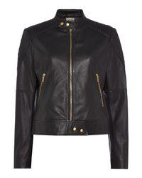 Biba Black Leather Moto Cross Biker Jacket