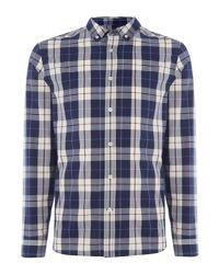 Lyle & Scott - Blue Long Sleeve Poplin Check Shirt for Men - Lyst