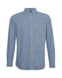 French Connection Blue Linen Gingham Overdyed Shirt for men