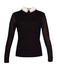 Ted Baker - Black Helin Woven Collar Sparkle Jumper - Lyst
