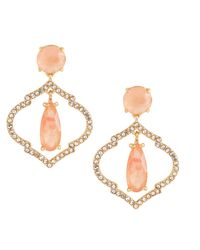 Kate Spade - Metallic Gold-tone Crystal And Pink Stone Drop Earrings - Lyst