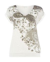 Salsa White Short Sleeve Vneck Embellished Tshirt