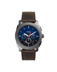 Fossil - Gray Machine Chronograph Leather Strap Watch for Men - Lyst