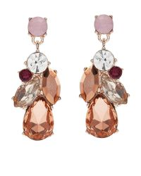 Jacques Vert - Pink Crystal Drop Earrings - Lyst