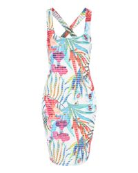 Jane Norman | Blue Tropical Print Bodycon Dress | Lyst