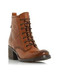 Dune Brown Leather Lace Up Patsie Ankle Boot