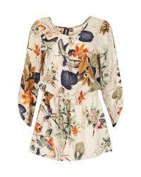 Izabel London - Multicolor Floral Print Shaped Smock Top - Lyst