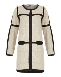 Izabel London - White Oversize Cardigan With Contrast Border - Lyst