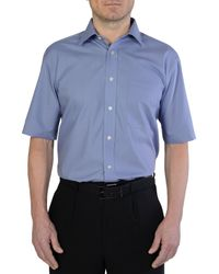 Double Two Blue Non Iron Poplin Short-sleeve Shirt for men