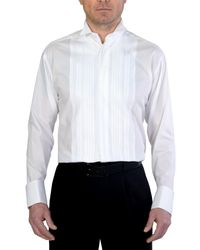 Double Two White Wing Collar Plisse Front Dress Shirt for men