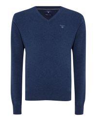 GANT | Blue Cotton V Neck Jumper for Men | Lyst