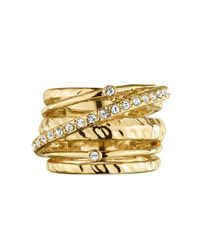 Dyrberg/Kern - Metallic Wendolyn Shiny Gold Crystal Ring - Lyst