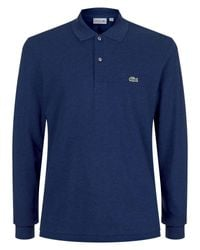 Lacoste - Blue Classic Long Sleeved Marl Polo Shirt for Men - Lyst