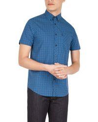 Ben Sherman Blue Heritage House Check Short Sleeve Shirt for men
