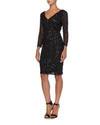 JS Collections - Black All Over Sequin V Neck Dress - Lyst