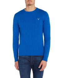 GANT Blue Crew Neck Cable Knit Jumper for men