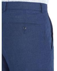 Howick Blue Fabens Flat Front Linen Trousers for men