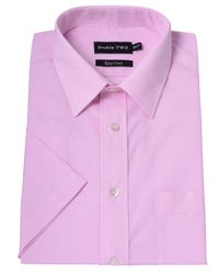 Double Two | Pink Plain Classic Fit Short Sleeve Formal Shirt for Men | Lyst