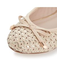 Dune - Natural Hobbi Woven Leather Ballerina Shoes - Lyst
