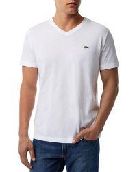 Lacoste - White V Neck T-shirt for Men - Lyst