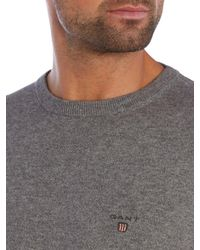 GANT - Gray Crew Neck Cotton Wool Jumper for Men - Lyst