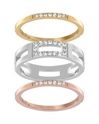 Swarovski   Multicolor Cubist Ring Set   Lyst