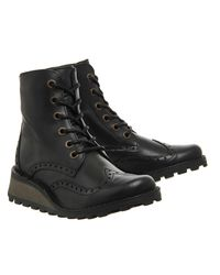 Fly Black Marl Lace Up Boots