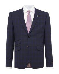 Ted Baker | Blue Restor Slim Tonal Check Suit Jacket for Men | Lyst