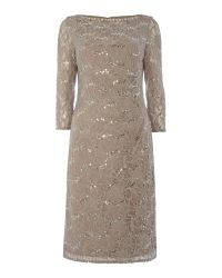 Eliza J | Natural Long Sleeve Sequin Lace Dress | Lyst