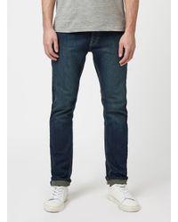 TOPMAN - Blue Dark Wash Stretch Slim Jeans for Men - Lyst