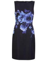 Tahari Black Floral Print Sleeveless Shift Dress