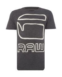G-Star RAW | Black Dromec Regular Fit Outline Logo Print T Shirt for Men | Lyst