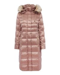 Eliza J | Blue Padded Down Coat With Faux Fur Hood | Lyst