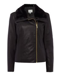 Cole Haan | Black Faux Leather Jacket With Faux Fur Collar | Lyst