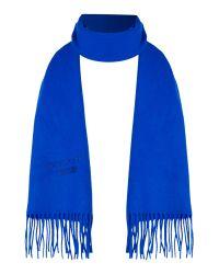 Boutique Moschino   Blue Logo Wool Scard   Lyst