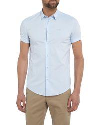 Armani Jeans Blue Regular Fit Short Sleeve Stretch Poplin Shirt for men