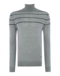 Armani Jeans | Gray Roll Neck Stripe Logo Silk Mix Jumper for Men | Lyst